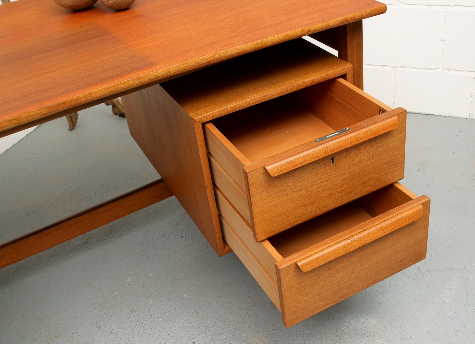 mid century teak writing desk from wk m bel 1960s for. Black Bedroom Furniture Sets. Home Design Ideas