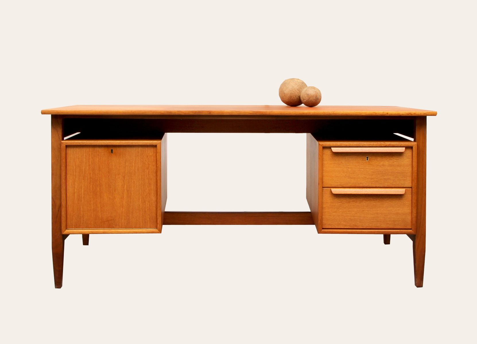 mid century teak writing desk from wk m bel 1960s for. Black Bedroom Furniture Sets. Home Design Ideas