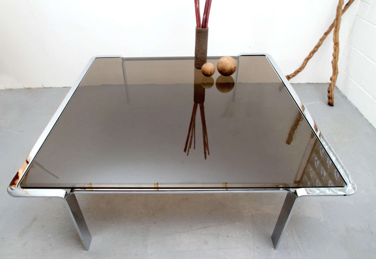 Large Smoked Glass Coffee Table, 1970s