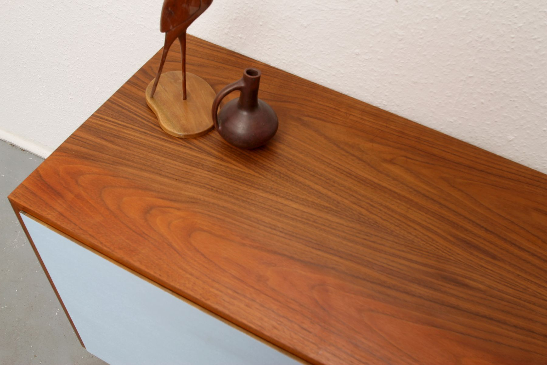 German Blue and White Teak Lowboard, 1960s for sale at Pamono