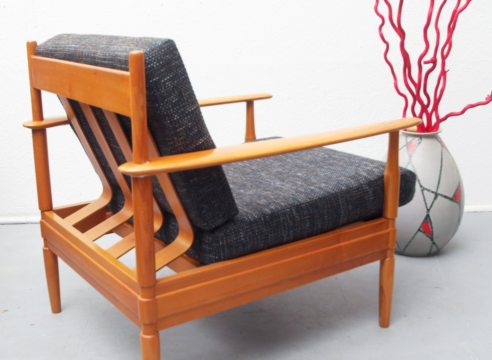 German Cherry Wood Lounge Chair 1960s For Sale At Pamono