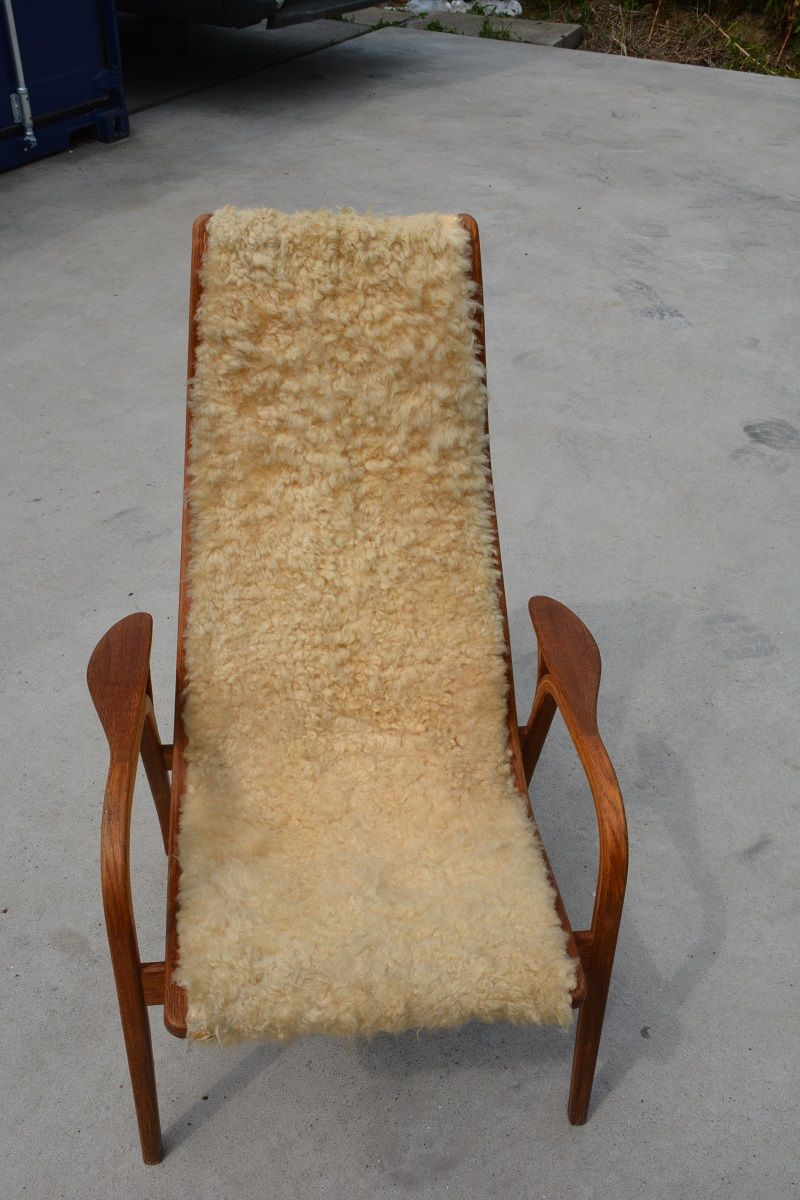 Swedish Lamino Chair with Sheepskin by Yngve Ekstrom for Swedese, 1950s for sale at Pamono