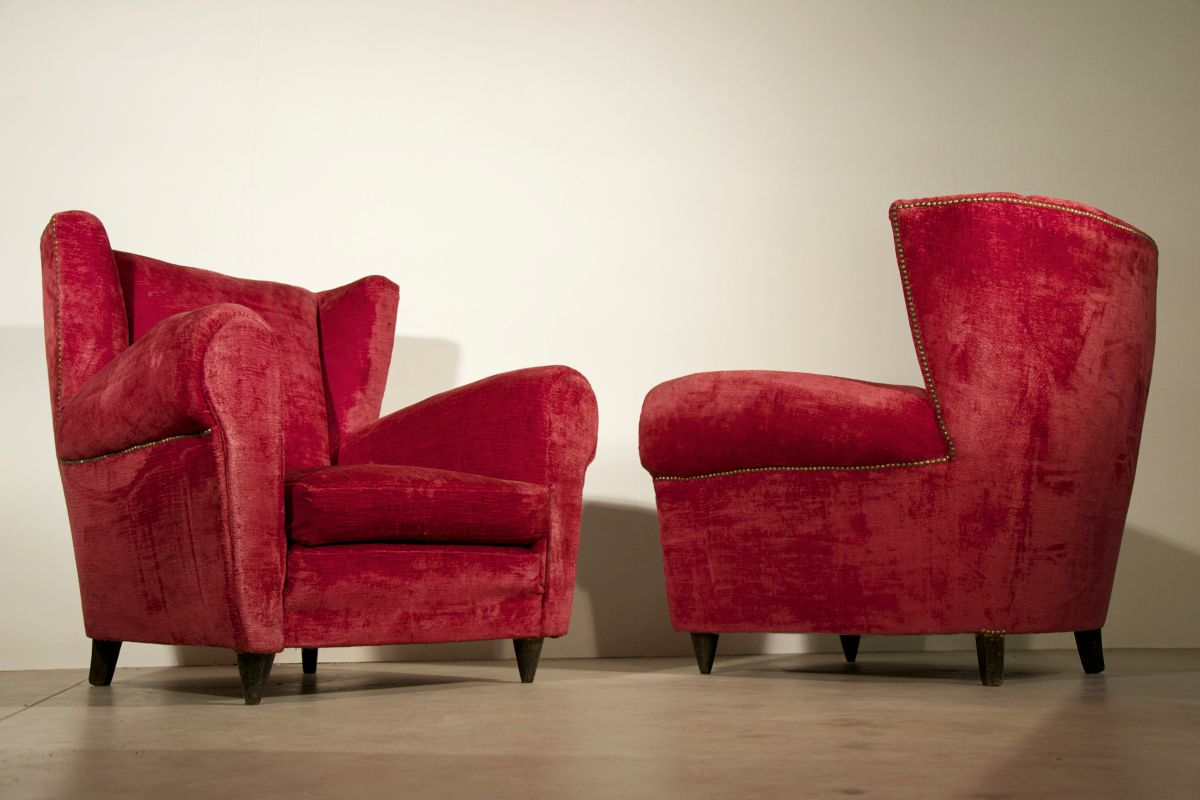 Italian red armchairs 1950s set of 2 for sale at pamono for 2 armchairs for sale