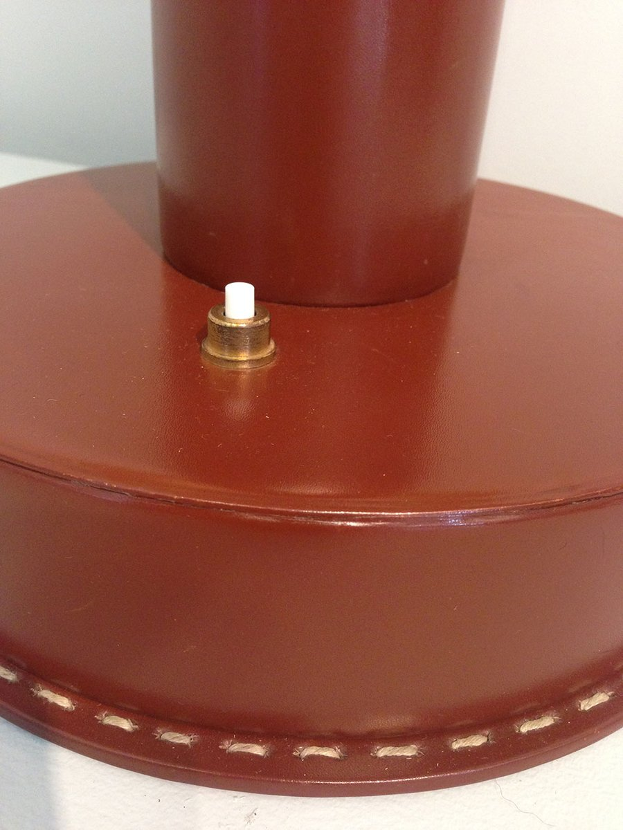 Large Red Leather Table Lamp 1940 For Sale At Pamono