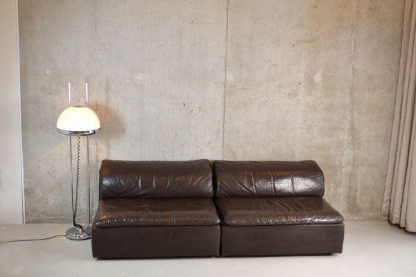braune vintage ledersofas 1970er 2er set bei pamono kaufen. Black Bedroom Furniture Sets. Home Design Ideas