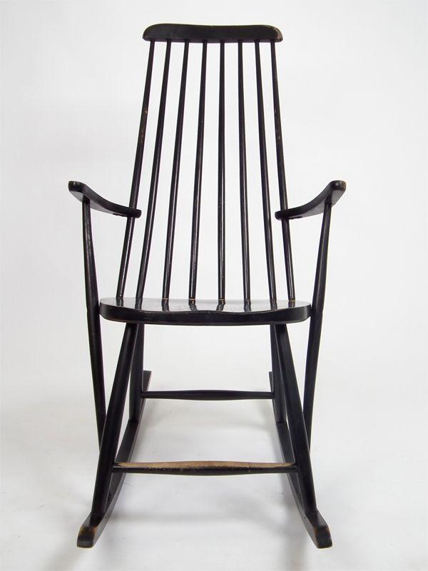 Schwarzer vintage schaukelstuhl bei pamono kaufen for Rocking chair schaukelstuhl