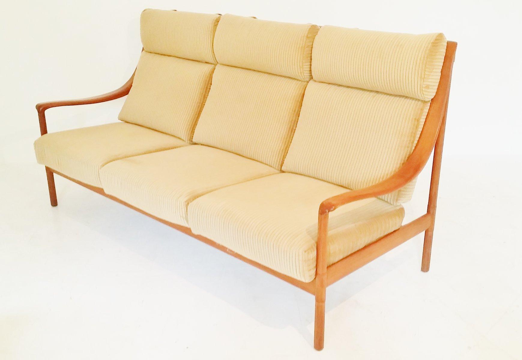 high back teak sofa 1960s for sale at pamono. Black Bedroom Furniture Sets. Home Design Ideas