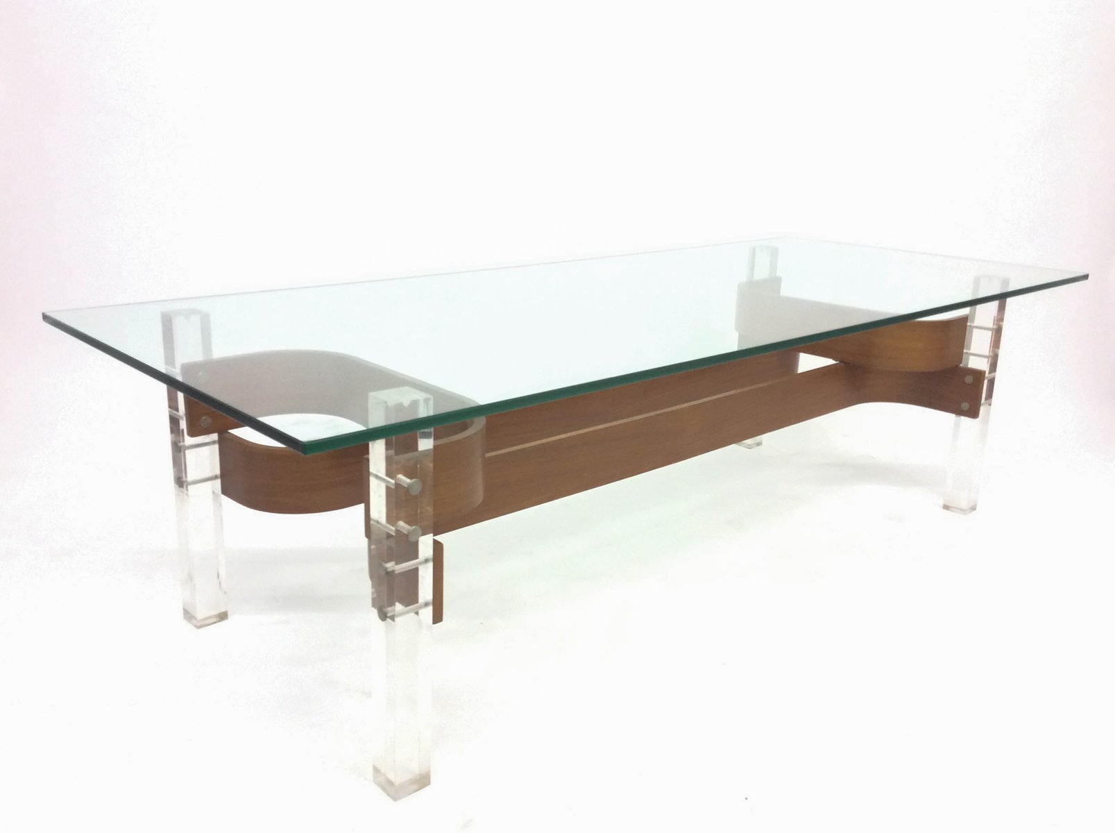 Mid Century Glass Perspex Coffee Table 1960s For Sale At Pamono