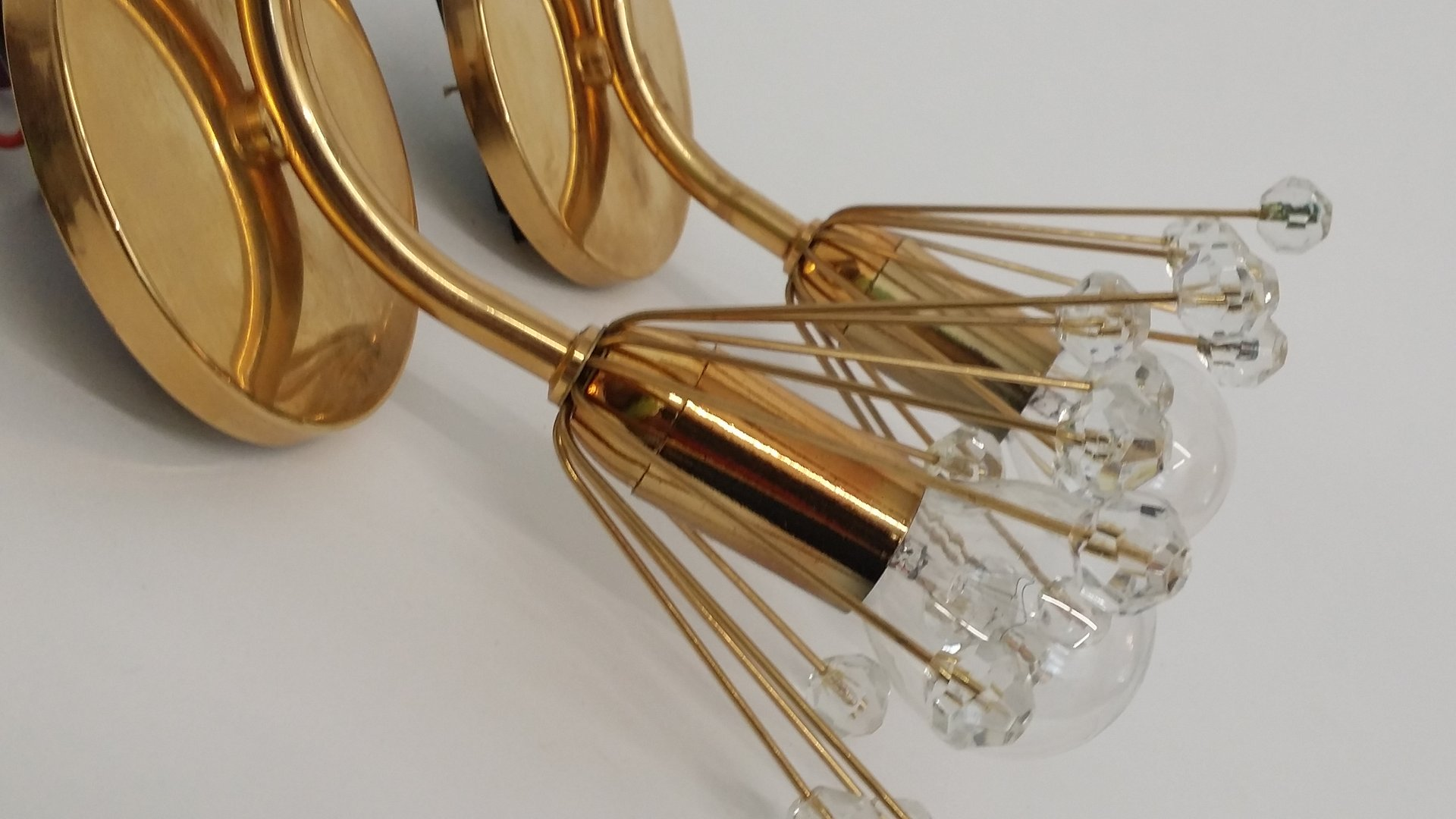 Czech Crystal Wall Lights : Crystal Wall Lights by Rupert Nikoll, 1955, Set of 2 for sale at Pamono