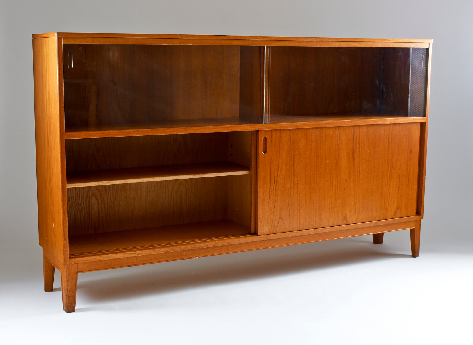Mid century teak sideboard with glass doors from for Sideboard glas