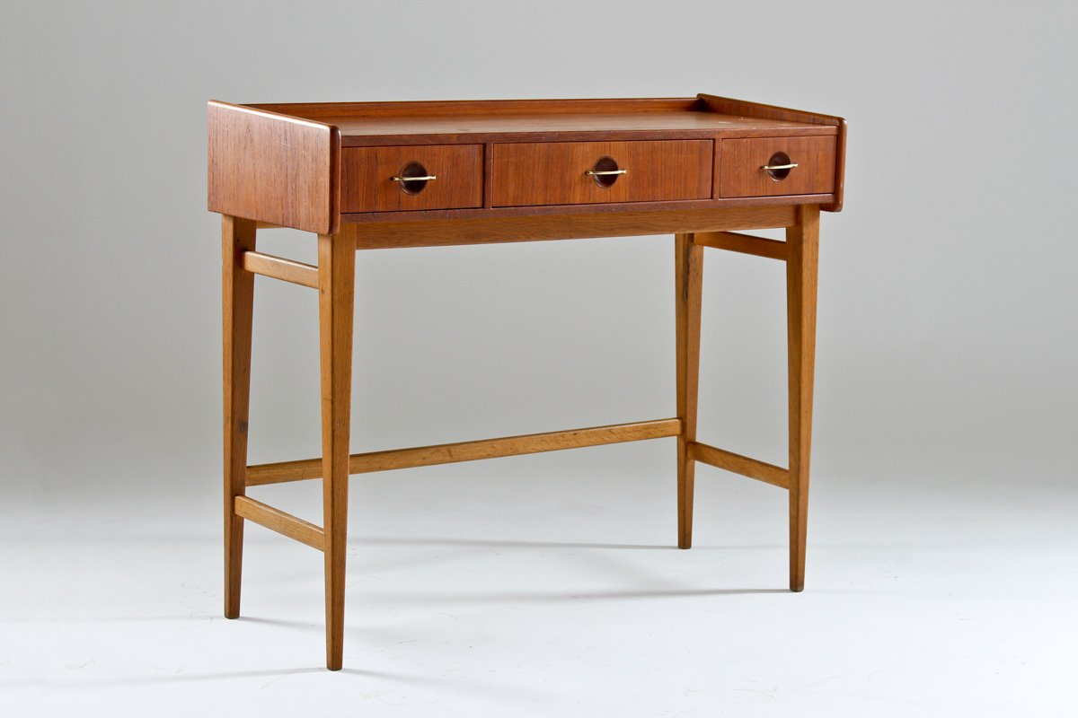 schwedischer teak vintage schreibtisch 1950er bei pamono kaufen. Black Bedroom Furniture Sets. Home Design Ideas