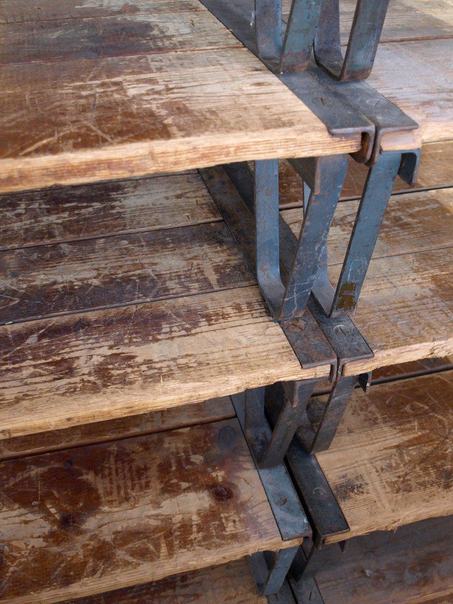 Industrie Couchtisch aus Holz und Metall bei Pamono kaufen