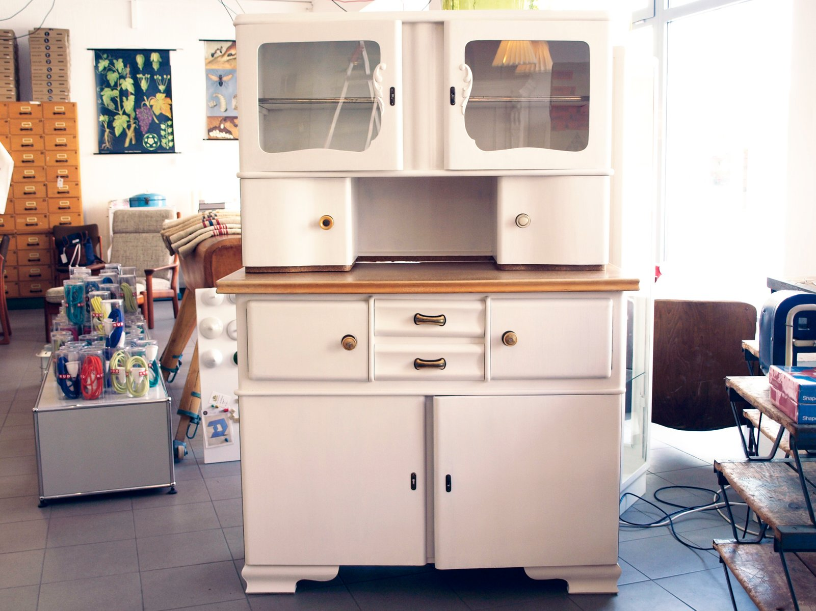 White Wood Kitchen Buffet 1950s For Sale At Pamono