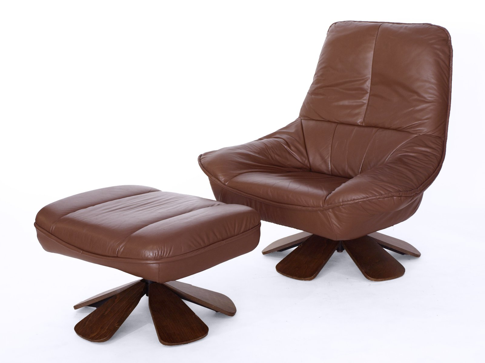 Vintage Leather Armchair With Ottoman