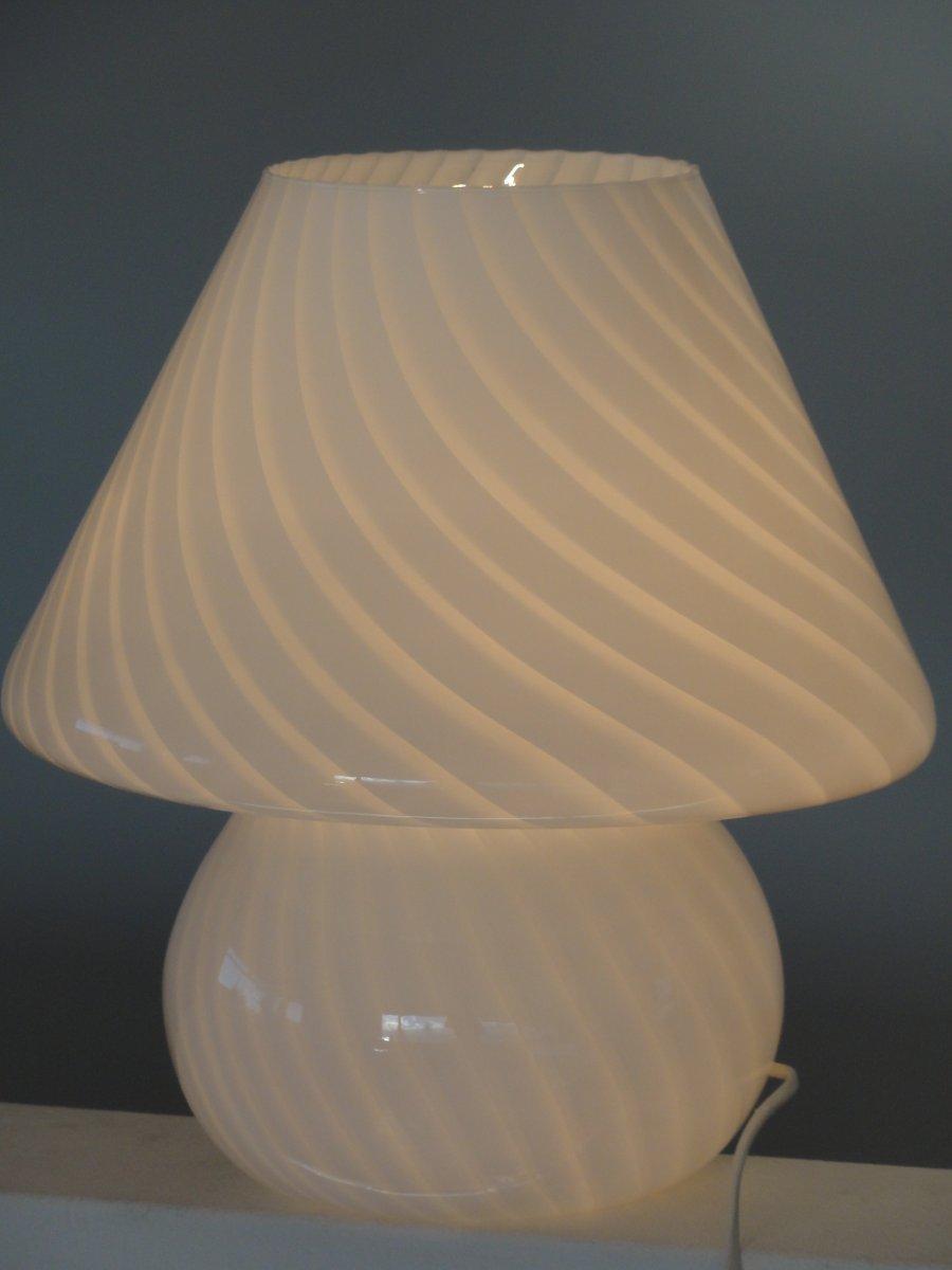 Lampe De Bureau Champignon En Verre Murano 1960s En Vente