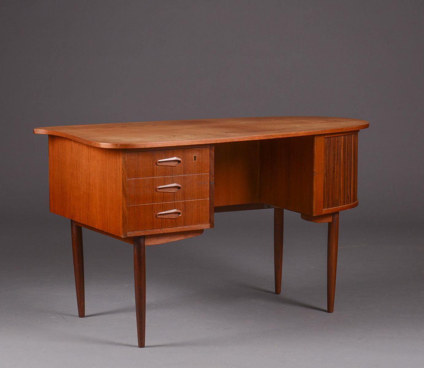 teak writing desk Mid century danish modern teak writing desk w chair mid century - $19900 mid century modern mcm danish teal and wood side arm desk chair sleek design.