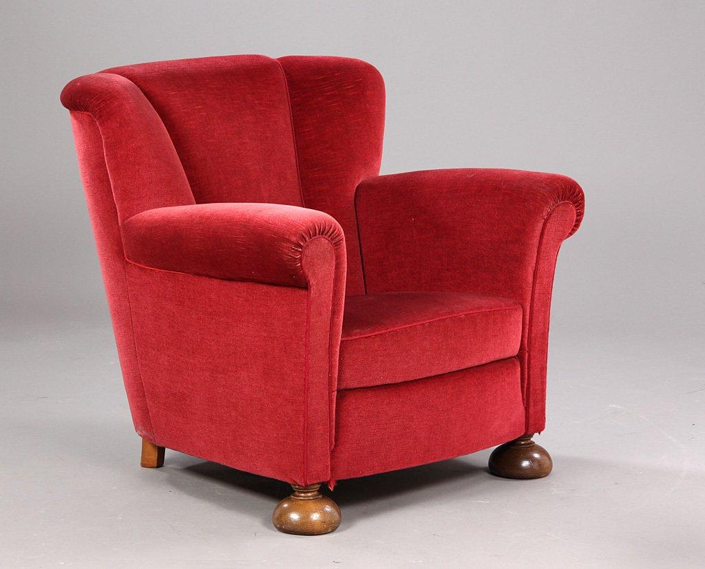 Vintage Danish Red Armchair, 1940