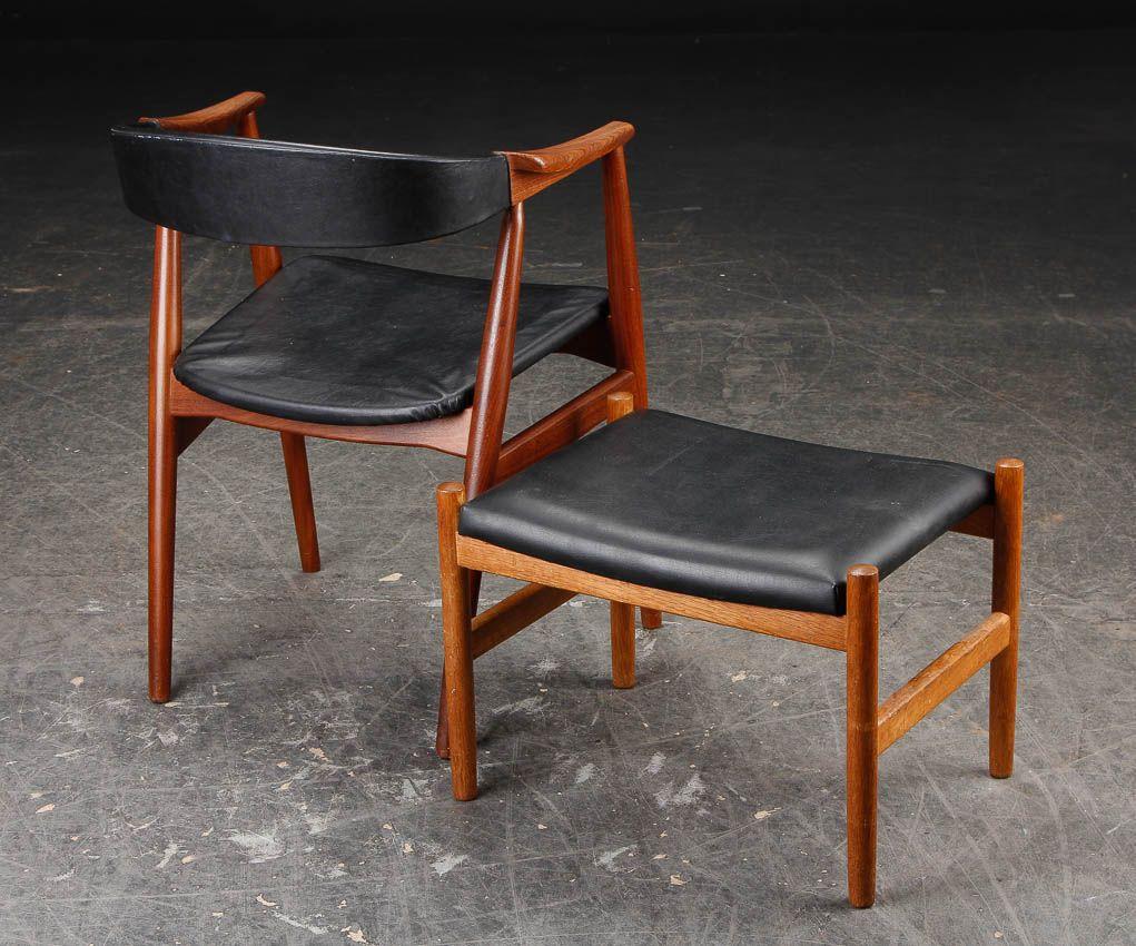 danish teak armchair and ottoman set for sale at pamono