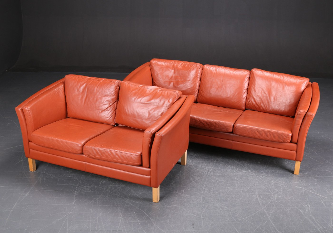 danish cognac leather sofas set of 2 for sale at pamono. Black Bedroom Furniture Sets. Home Design Ideas