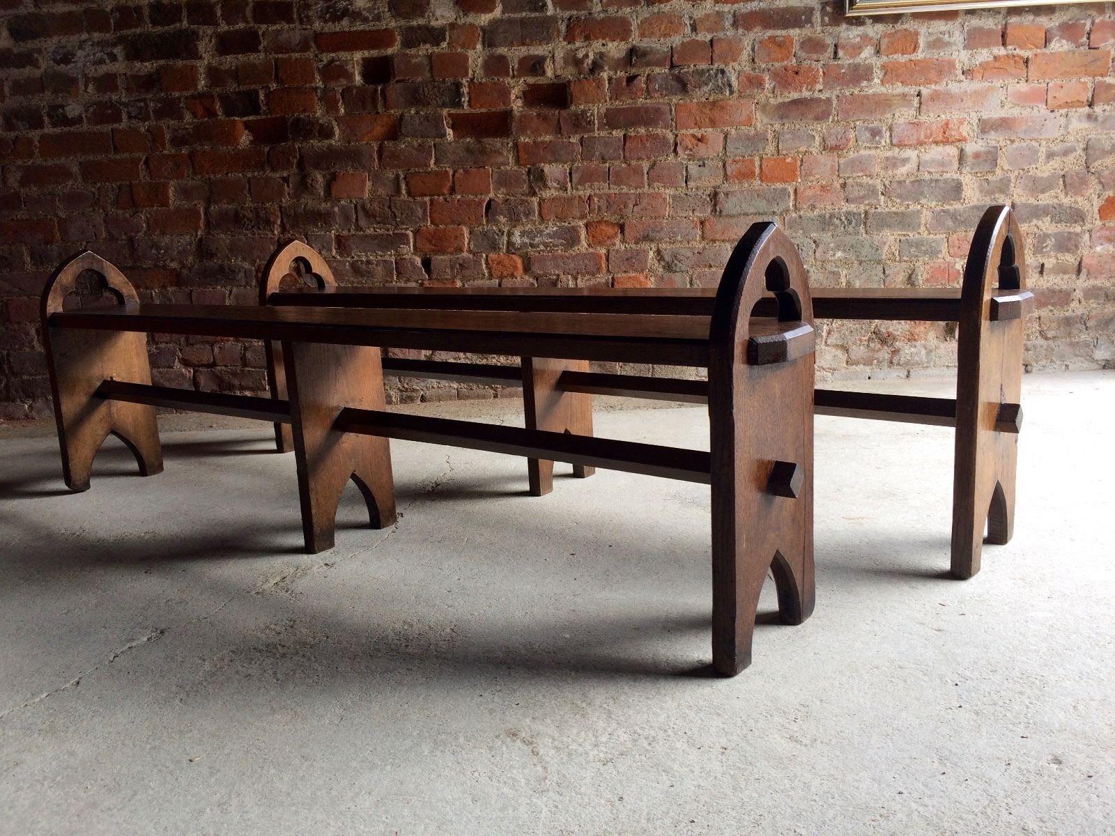 antike viktorianische eichen b nke 1870er 2er set bei. Black Bedroom Furniture Sets. Home Design Ideas