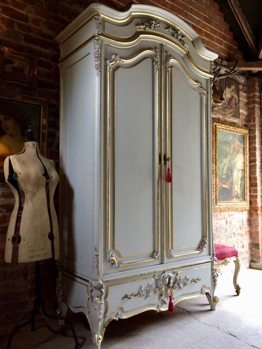 Vintage French Armoire Wardrobe with Mirror for sale at Pamono