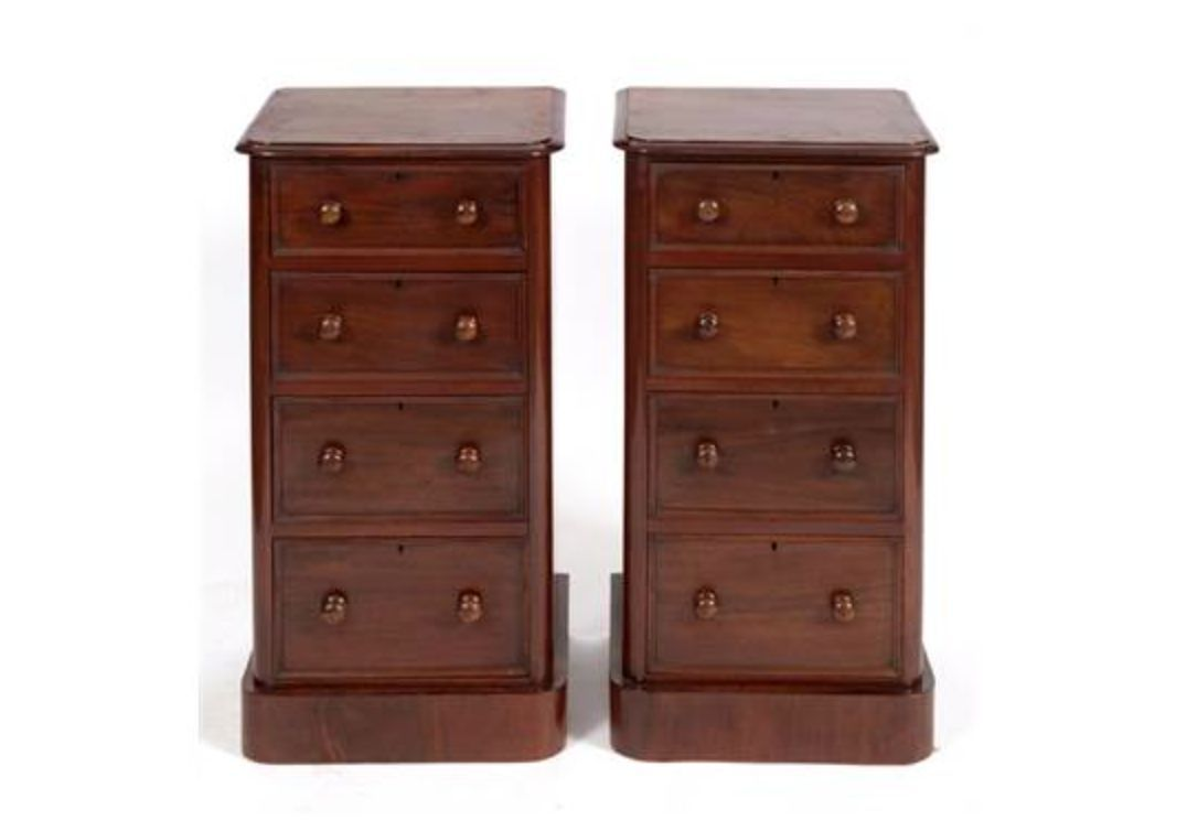 - Antique Mahogany Bedside Cabinets, 1870s, Set Of 2 For Sale At Pamono