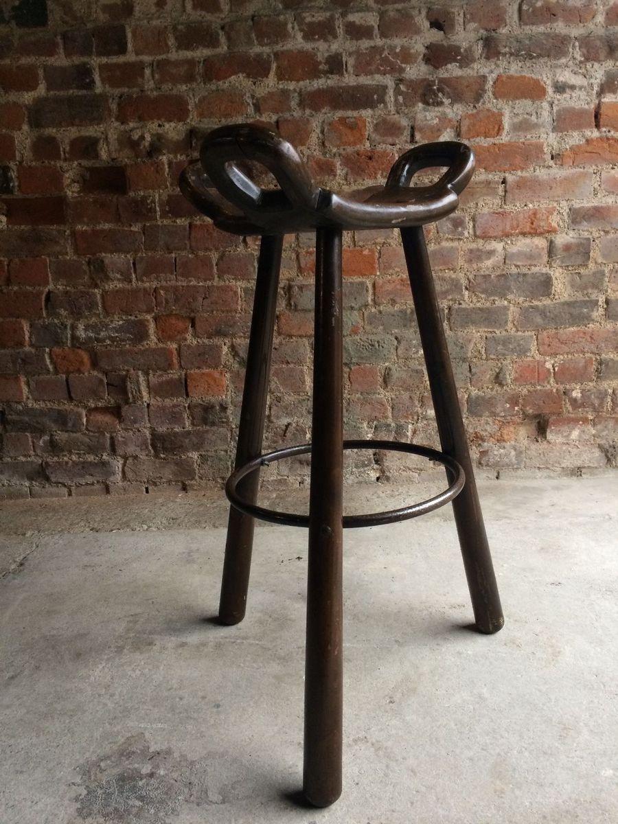 Vintage Oak Industrial Saddle Bar Stools Set Of 3 For