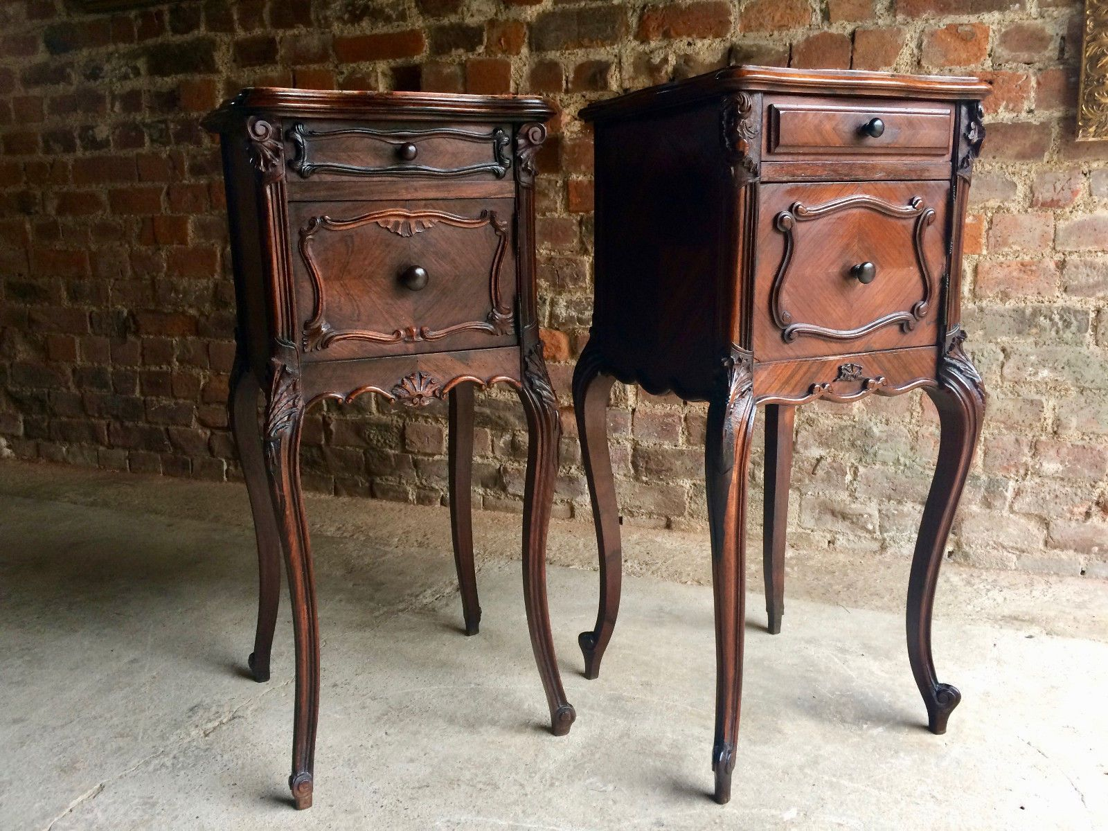 antique french walnut u0026 marble night stands set of 2