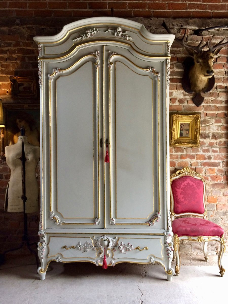 vintage french armoire wardrobe with mirror for sale at pamono. Black Bedroom Furniture Sets. Home Design Ideas