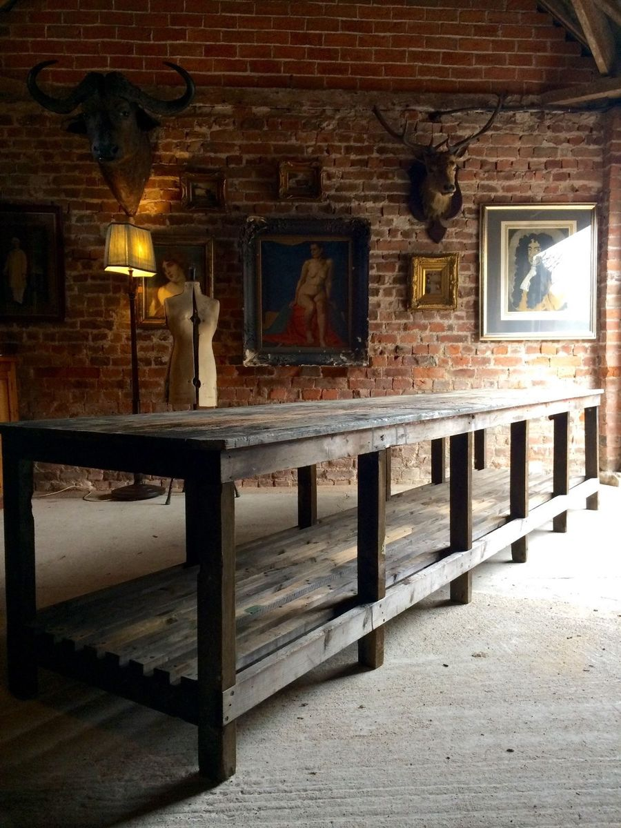 Industrial Large Rustic Dining And Artistu0027s Table, 1920s