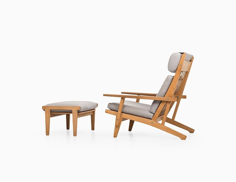 ge 375 sessel hocker von hans j wegner f r getama bei pamono kaufen. Black Bedroom Furniture Sets. Home Design Ideas