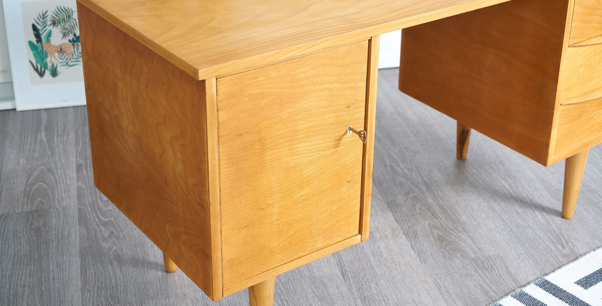Desk with cabinet and drawers 1950s for sale at pamono for Kitchen drawers for sale