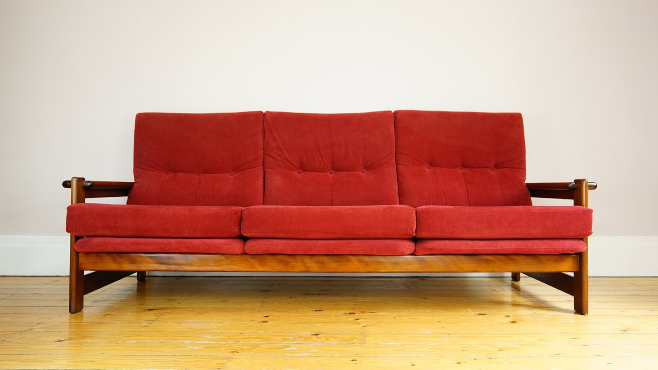 Vintage Danish Red Velvet 3 Seater Sofa For Sale At Pamono