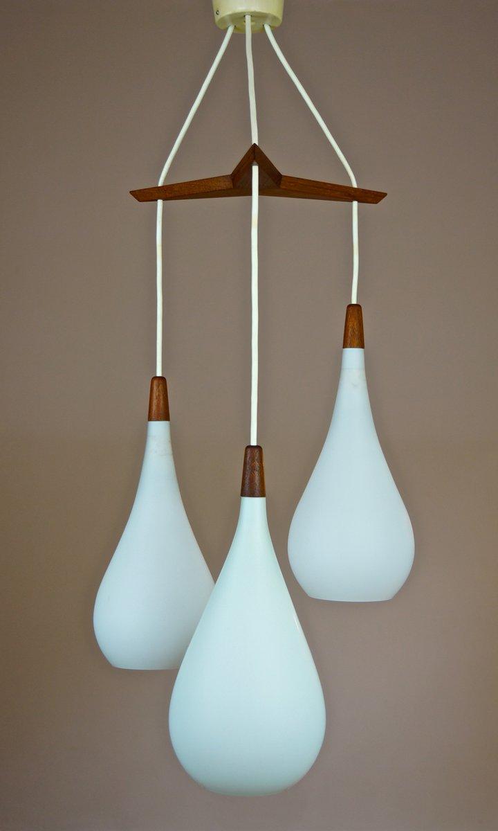 Vintage Danish Triple Glass & Teak Pendant Ceiling Light ...