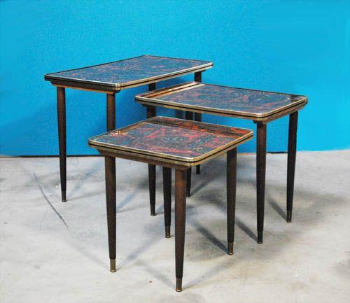 Antique Wood Nesting Tables Set Of 3 ~ Vintage wooden nesting tables s set of for sale at