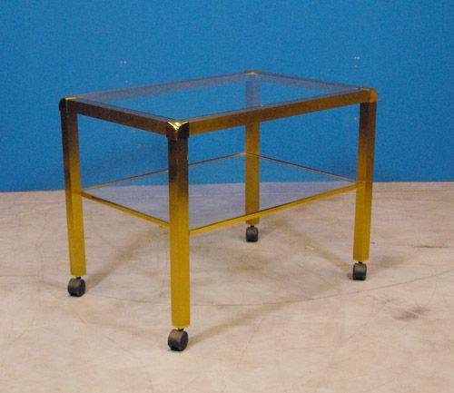 vintage glas und messing beistelltisch 1970er bei pamono kaufen. Black Bedroom Furniture Sets. Home Design Ideas