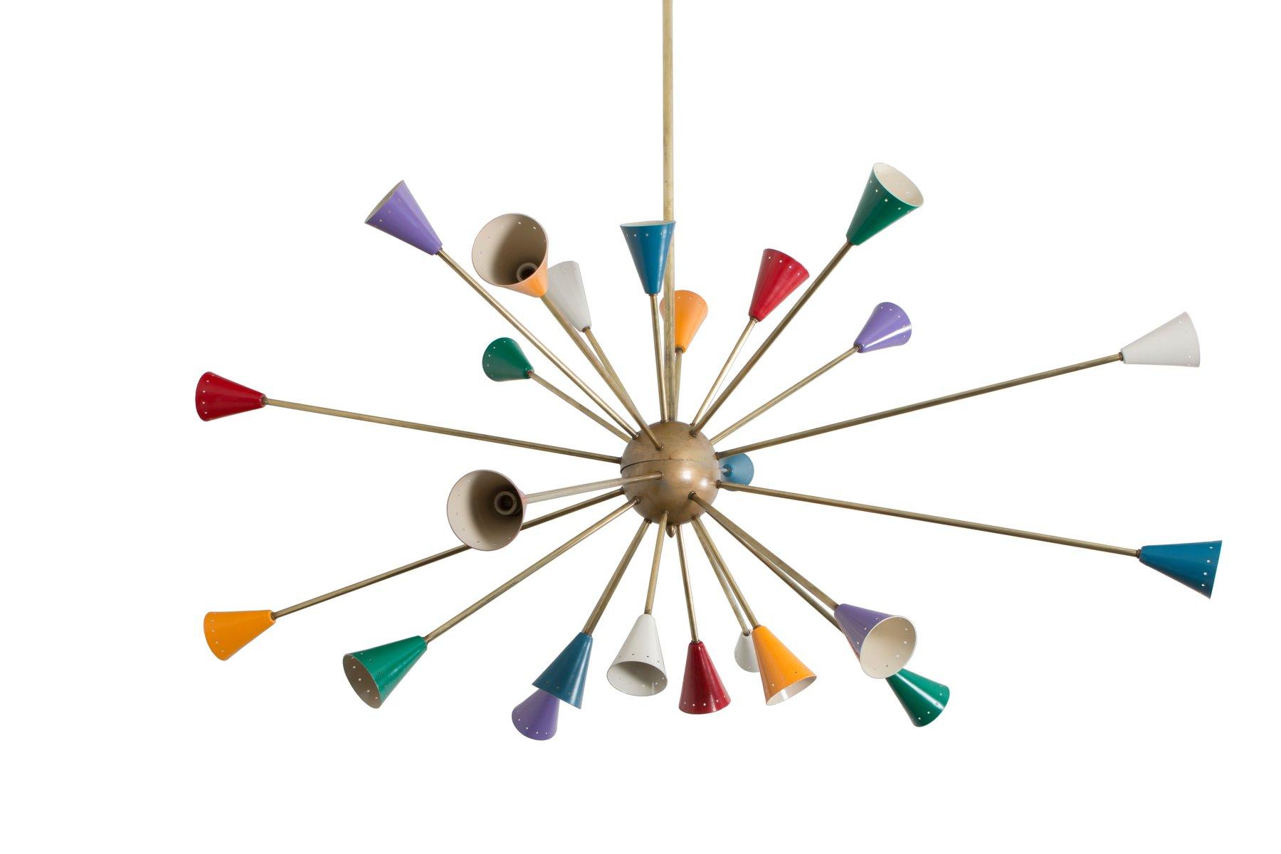 bunte italienische messing sputnik deckenlampe 1950er bei pamono kaufen. Black Bedroom Furniture Sets. Home Design Ideas