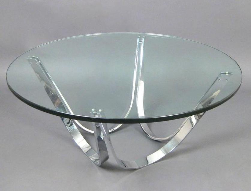 vintage chrome and glass coffee tableroger sprunger for dunbar