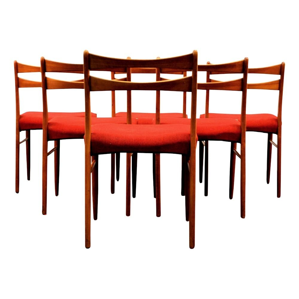 Vintage Danish Teak Dining Chairs In Wine Red Fabric Set