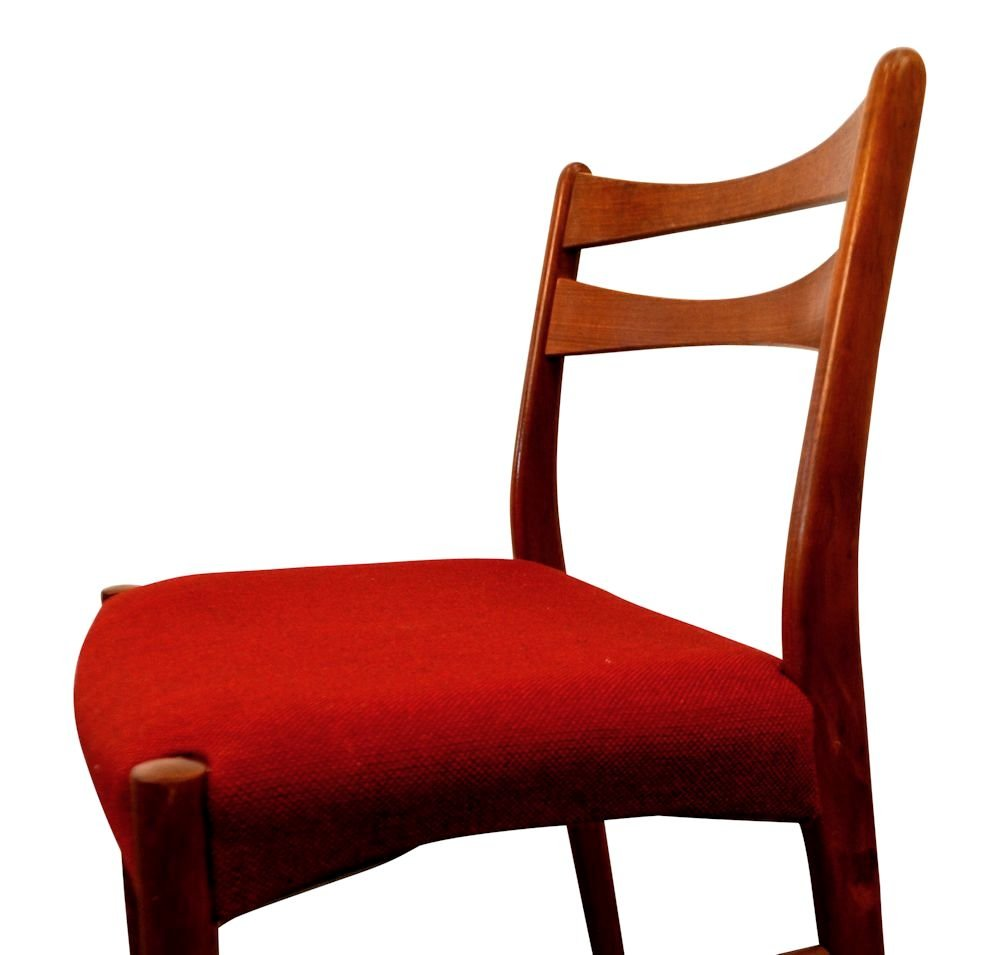 Vintage danish teak dining chairs in wine red fabric set for Red dining chairs for sale