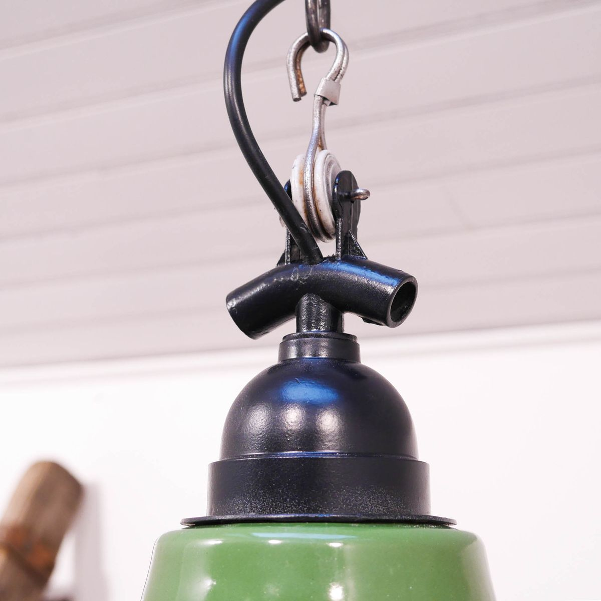 Vintage green enameled suspension lamp for sale at pamono for Suspension 4 lampes
