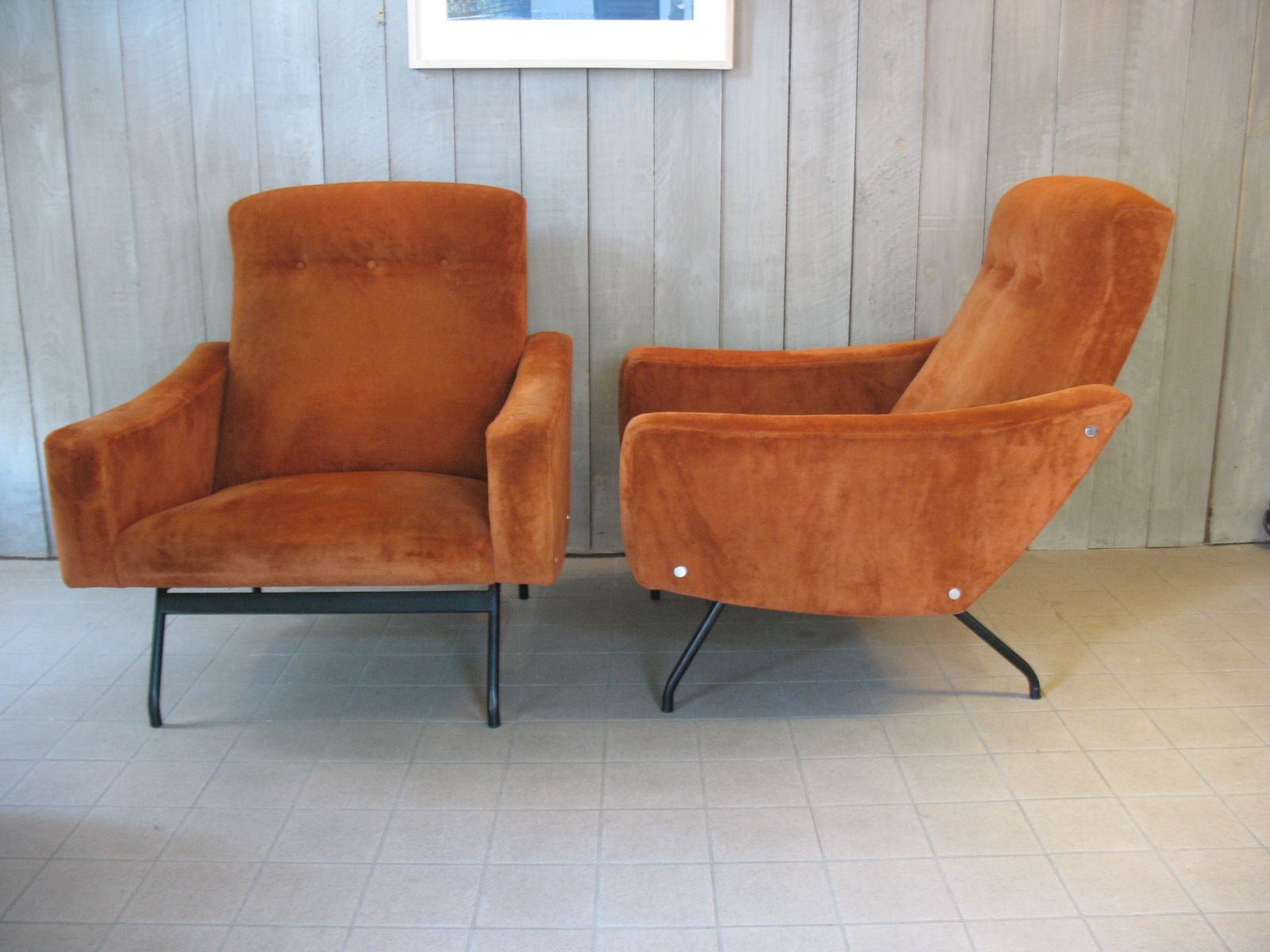 mid century grand fauteuils lounge chairs from steiner. Black Bedroom Furniture Sets. Home Design Ideas