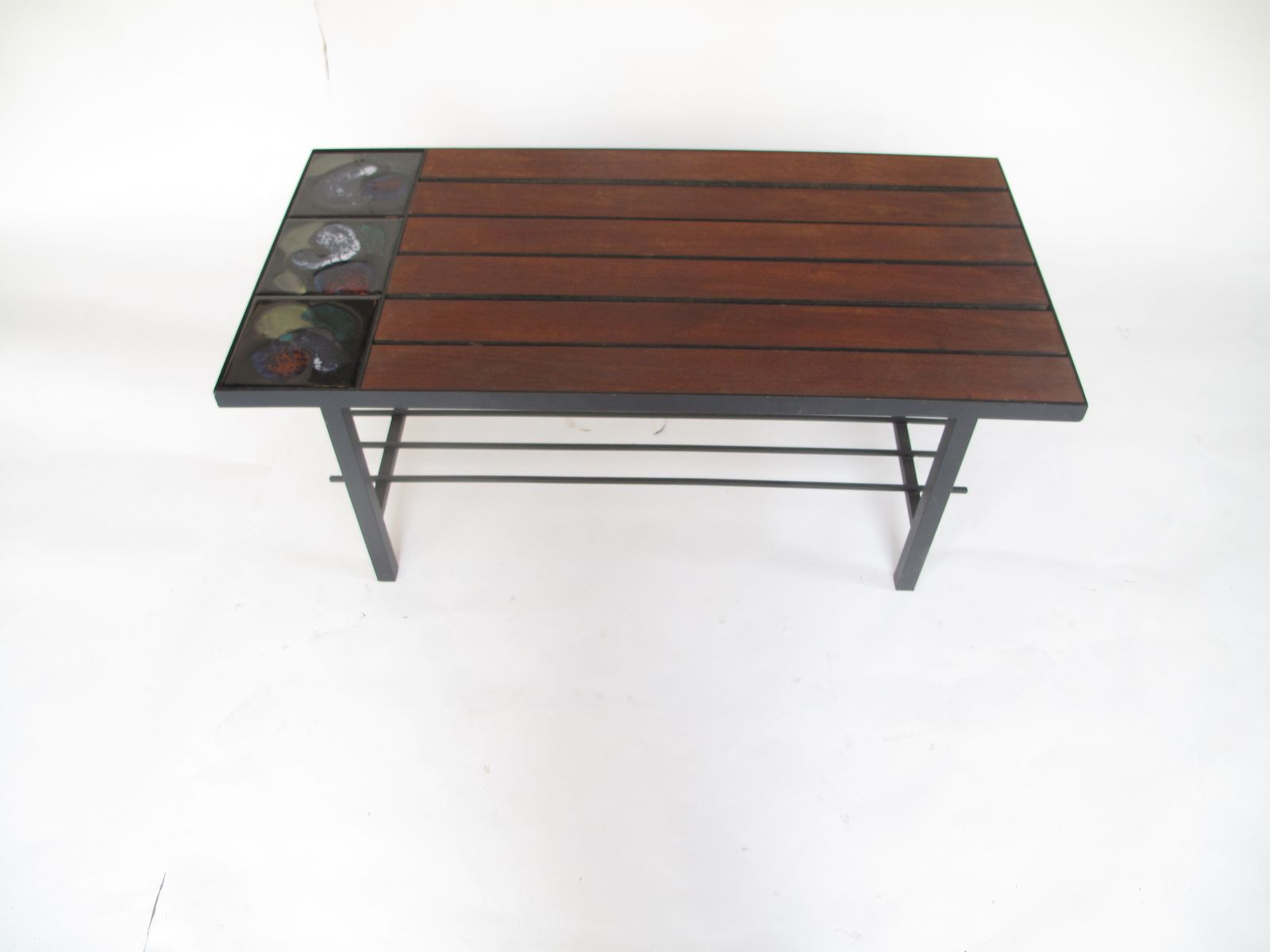 Coffee Table in Wood with Ceramic Tiles, 1960s for sale at
