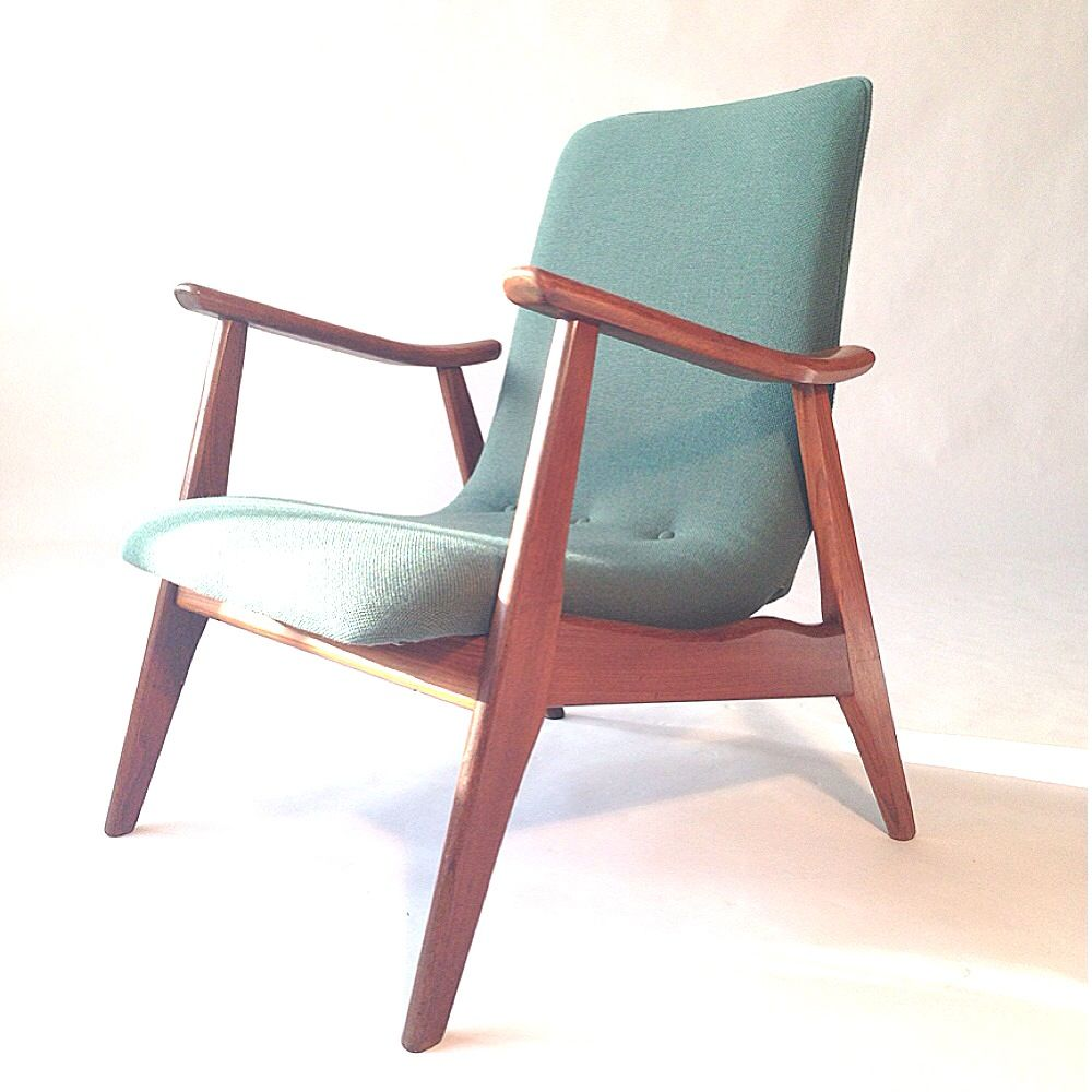Vintage Solid Teak Easy Chair by Louis van Teeffelen for WéBé for ...