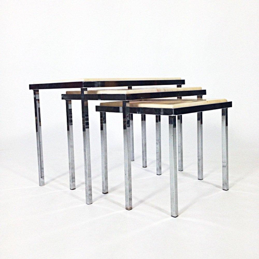 mid century satztische von ums pastoe 3er set bei pamono kaufen. Black Bedroom Furniture Sets. Home Design Ideas