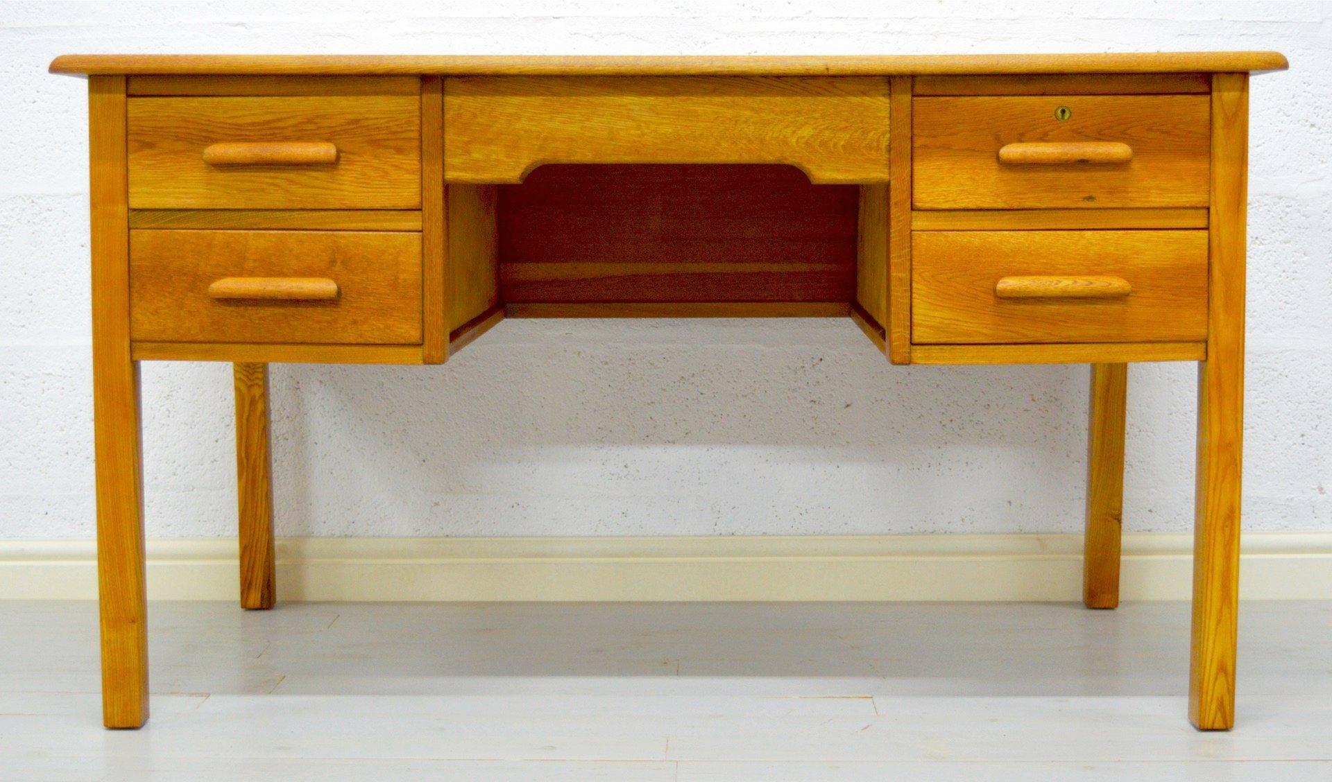 Vintage solid oak office teacher s desk by abbess for sale