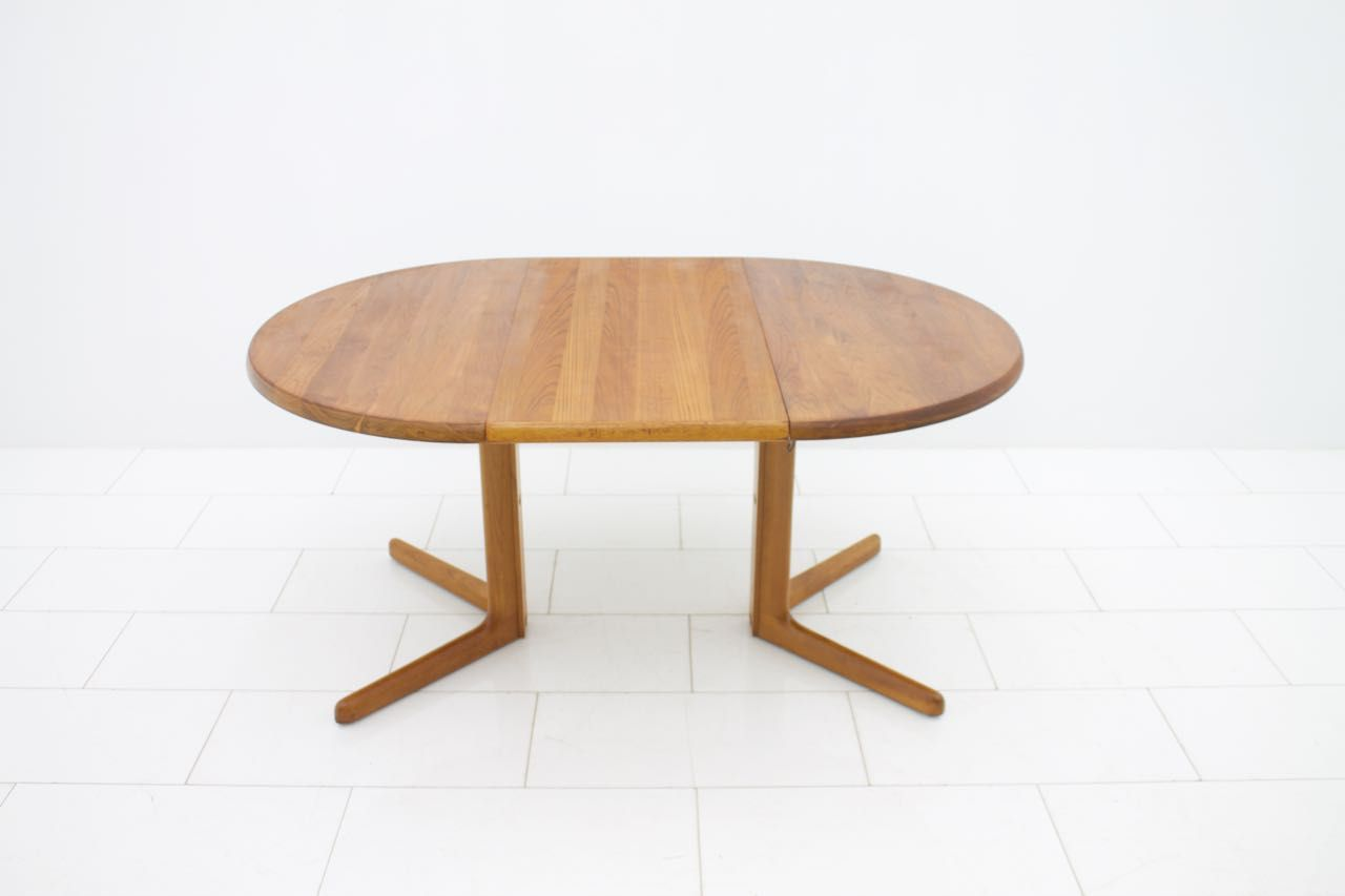 MidCentury Round Teak Dining Table with Two Extension Plates for