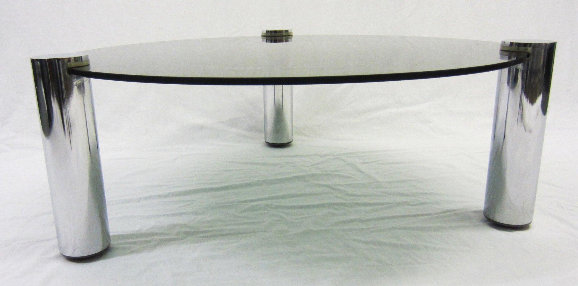 runder couchtisch aus glas und chrom von pieff 1960er bei. Black Bedroom Furniture Sets. Home Design Ideas