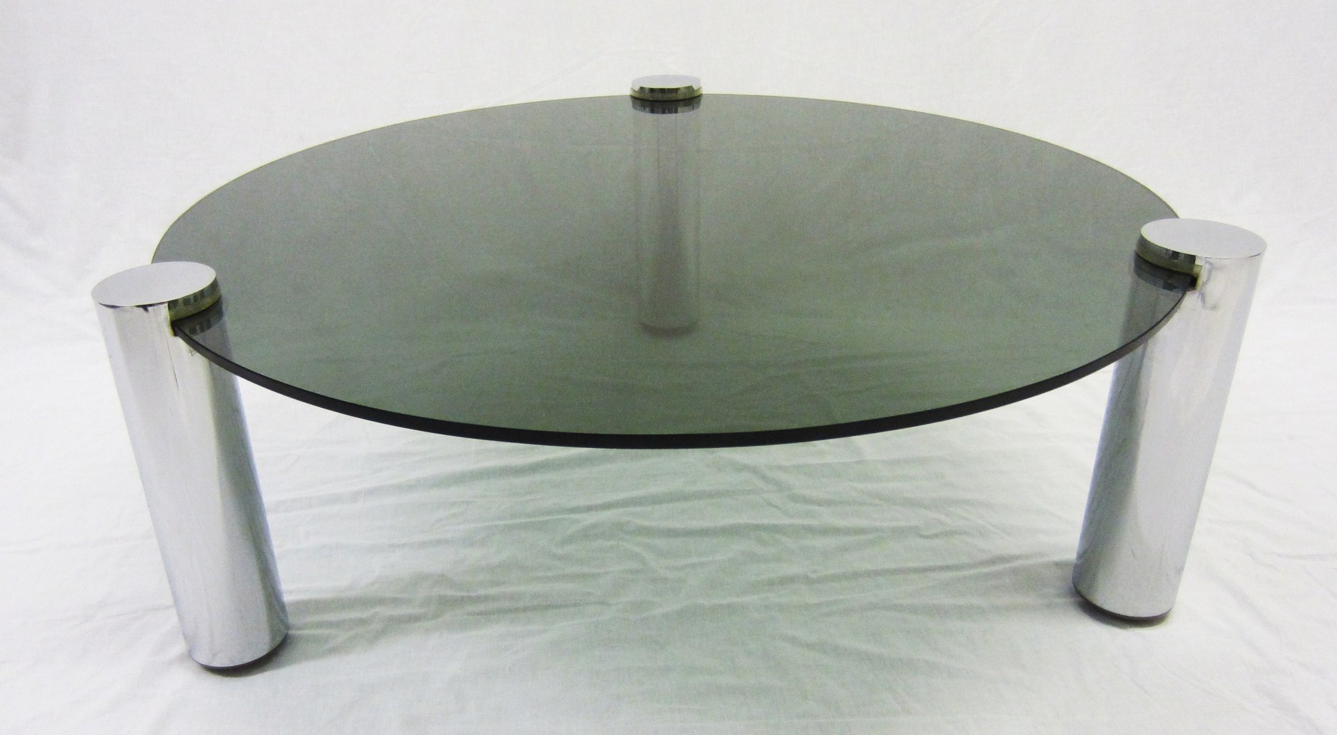 Round glass and chrome coffee table from pieff 1960s for for Round glass coffee tables for sale