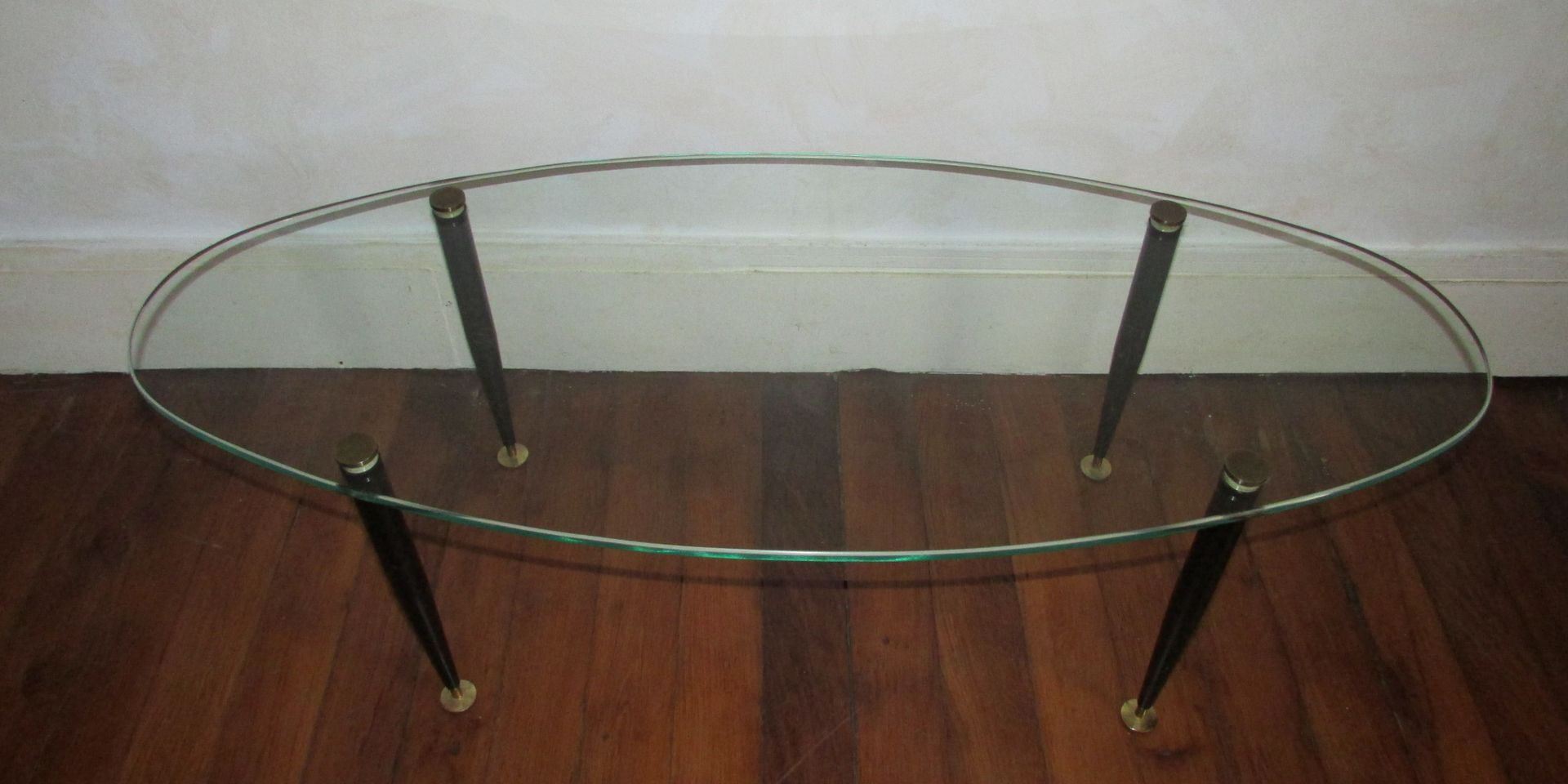 Vintage Oval Glass Coffee Table 1950s For Sale At Pamono